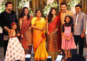Indrajith with daughter, Manju Warrier,KAPC Lalitha, Supriya Menon, Prithviraj, Dileep with daughter