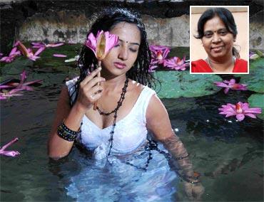 A scene from Narthaki. Inset: Director Vijayapadma