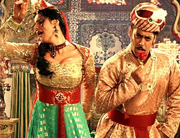 Zareen Khan and Salman Khan in a song sequence from Ready