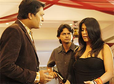 Ekta Kapoor with the cast of CID