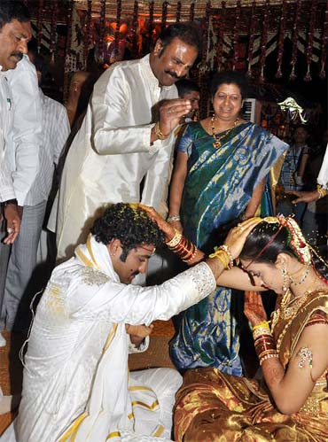 Mohan Babu with the couple