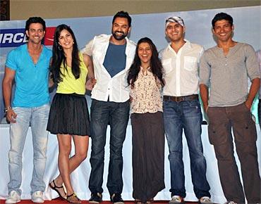 Hrithik Roshan, Katrina Kaif, Abhay Deol, Zoya Akhtar, Ritesh Sidhwani and Farhan Akhtar