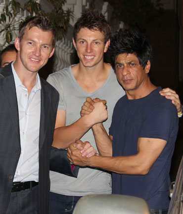 Brett Lee, James Pattinson and Shah Rukh Khan