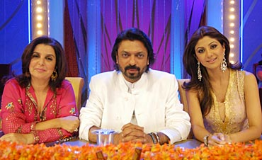 Sanjay Leela Bhansali with Shilpa Shetty and Farah Khan