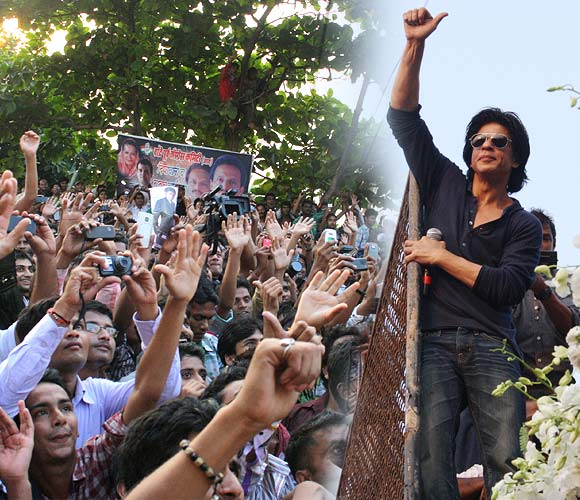 Shah Rukh Khan greets fans outside his home on his birthday