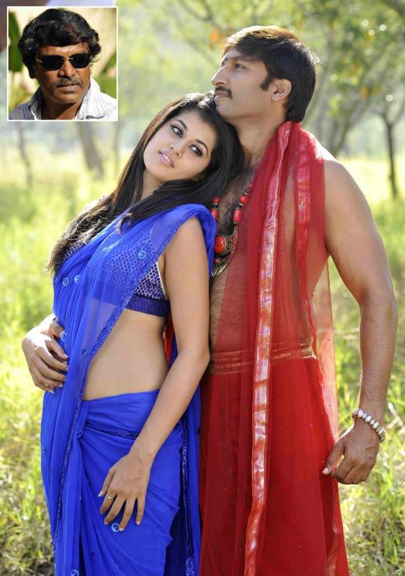 A scene from Mogudu. Inset: Director Krishnavamsi