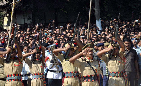 Gun salutes by Assam police personnel