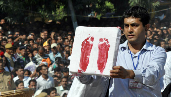 Hazarika's footprints taken by the government forensic department