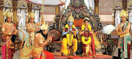A scene from Sri Ramarajyam