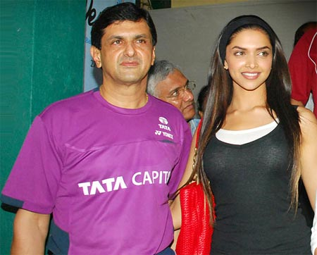 Prakash Padukone with Deepika Padukone