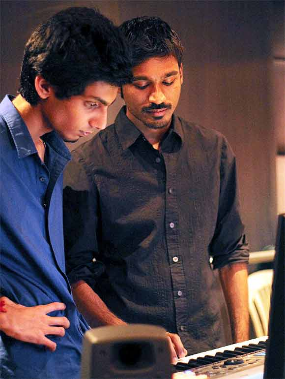 Anirudh Ravichander and Dhanush composing Kolaveri Di a video that went viral in 2012