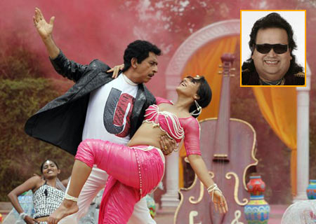 A scene from The Dirty Picture. Inset: Bappi Lahiri