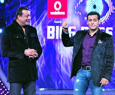 Bigg Boss host Salman Khan and Sanjay Dutt