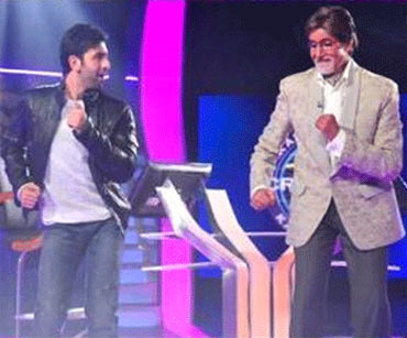 Ranbir Kapoor and Amitabh Bachchan on the sets of Kaun Banega Crorepati 5