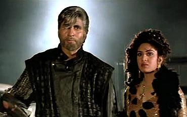 Amitabh Bachchan and Meenakshi Sheshadri