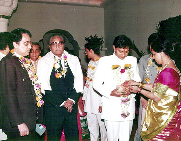 Ashok Kumar at grandson Rahul Patel's wedding