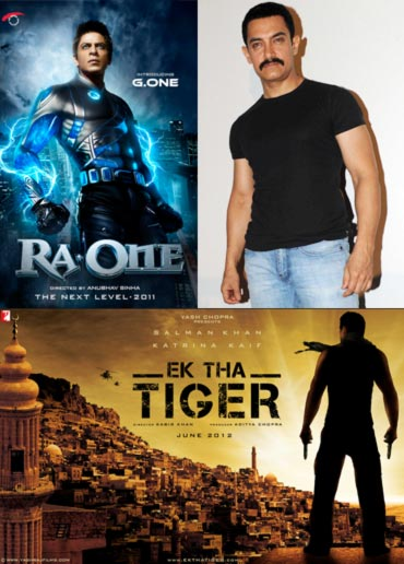 Movie posters of Ra.One, Ek Tha Tiger and Aamir Khan