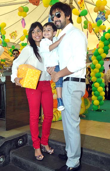 Aashish Chaudhary and Samita Bangargi with Agasthya