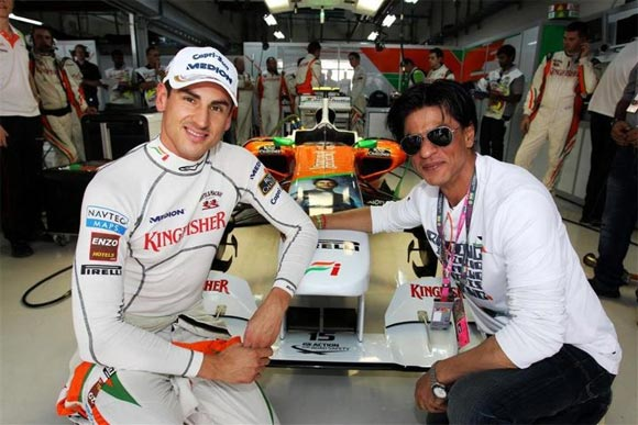 Shah Rukh along with Sahara Force India driver Adrian Sutil