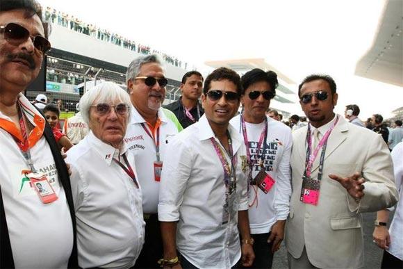 Subrata Roy, Bernie Ecclestone, Dr Vijay Mallya, Sachin Tendulkar, Shah Rukh Khan and Gulshan Grover