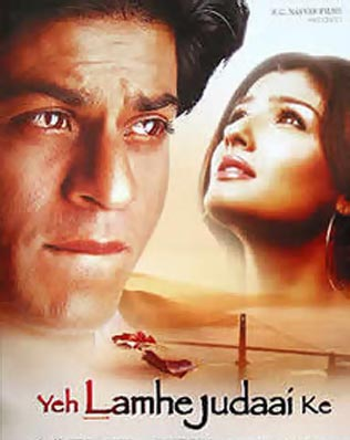 Shah Rukh Khan and Raveena Tandon in Ye Lamhe Judaai Ke