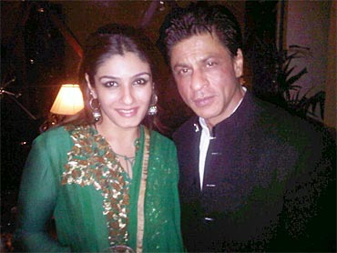 Raveena Tandon and Shah Rukh Khan