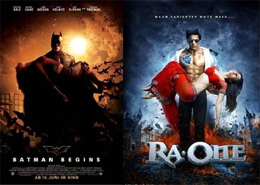 A poster of Batman Begins and Ra.One
