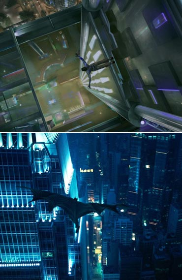 A scene from Ra.One and The Dark Knight