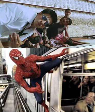 A scene from Ra.One and Spider-Man 2