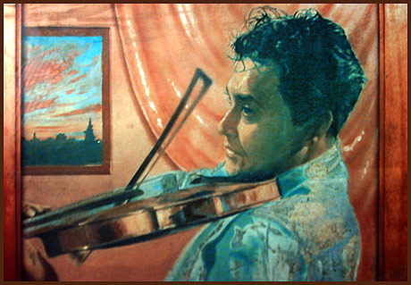 Self-portrait playing Violin
