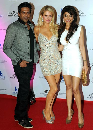 Rocky S, Paris Hilton and Queenie Singh