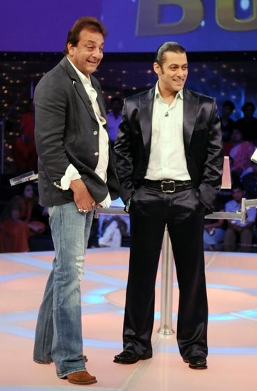 Sanjay Dutt and Salman Khan on the sets of Dus Ka Dum