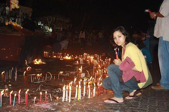 Charu Khandal at a candle light march