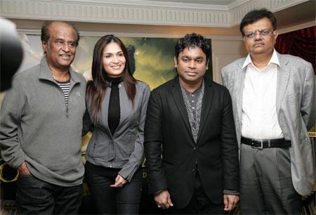 Rajniknath, Soundarya,  A R Rahman and Dr J Murali