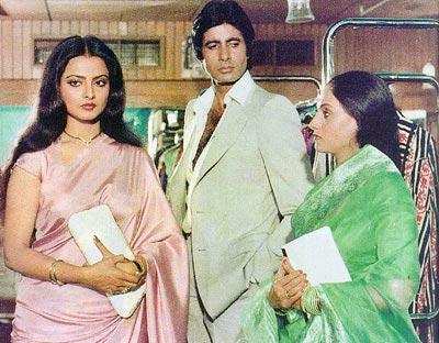 Rekha, Amitabh Bachchan and Jaya Bachchan