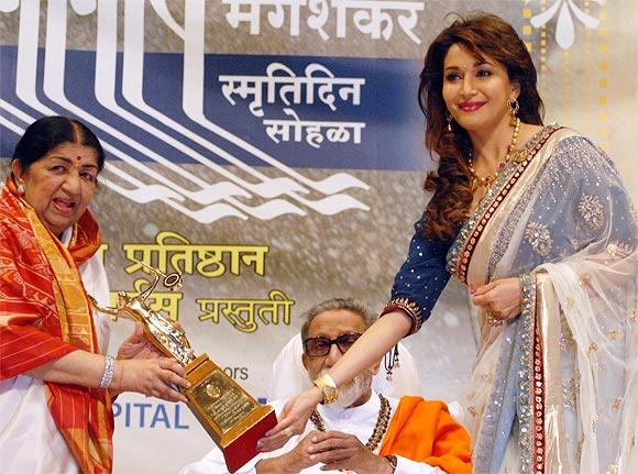 Lata Mangeshkar, Bal Thackeray and Madhuri Dixit Nene