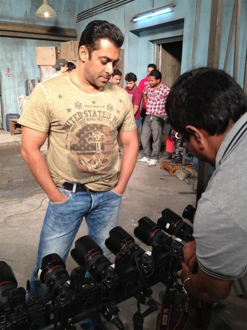 Salman Khan on the sets of Ek Tha Tiger