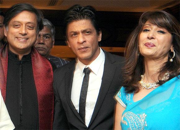 Shashi Tharoor, Shah Rukh Khan and Sunanda Pushkar
