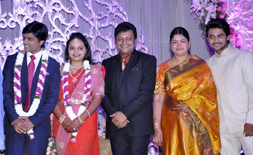 Sai Kumar with wife, son Aadi and the newlyweds Jyothirmayi and Krishna Khalguna