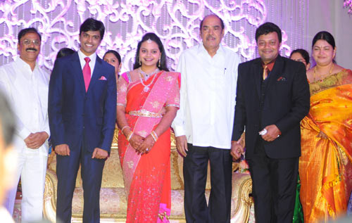 D Rama Naidu with the bridal couple