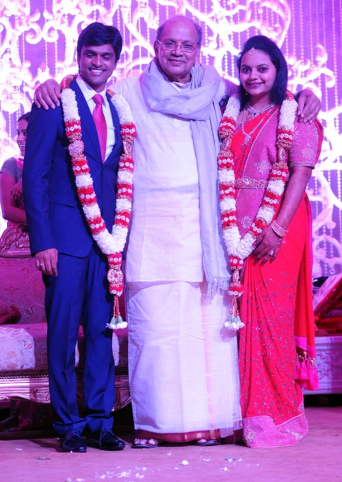P J Sharma with the bridal couple