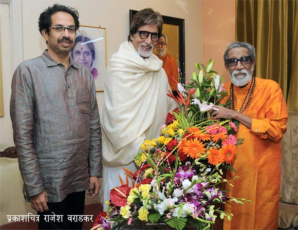 Uddhav Thackeray, Amitabh Bachchan and Bal Thackeray