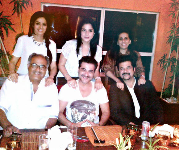 Boney Kapoor with wife Sridevi, Sanjay Kapoor with wife Maheep and Anil Kapoor with wife Sunita