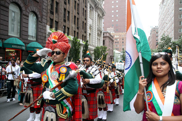 Swamibapa Pipe band performs on India Day Parade