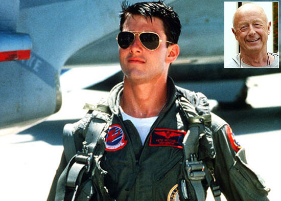 Tom Cruise in Top Gun. Inset: Tony Scott