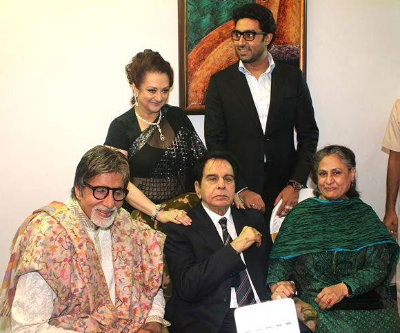 Dilip Kumar and Saira Banu with Amitabh, Jaya and Abhishek Bachchan on his 89th birthday last year