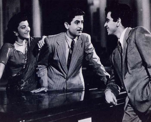 Nargis, Raj Kapoor and Dilip Kumar in Andaaz