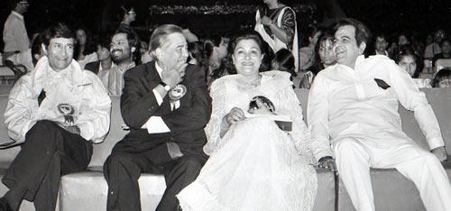 Dev Anand, Raj Kapoor, Krishna Raj and Dilip Kumar