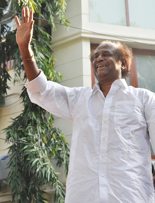 Rajinikanth waves to his fans