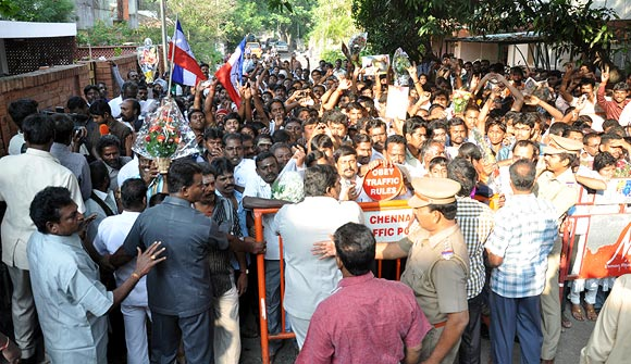 Fans outside Rajinikanth's home